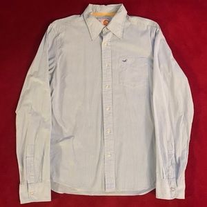 Hollister Button Down Shirt (Blue/White, Large)